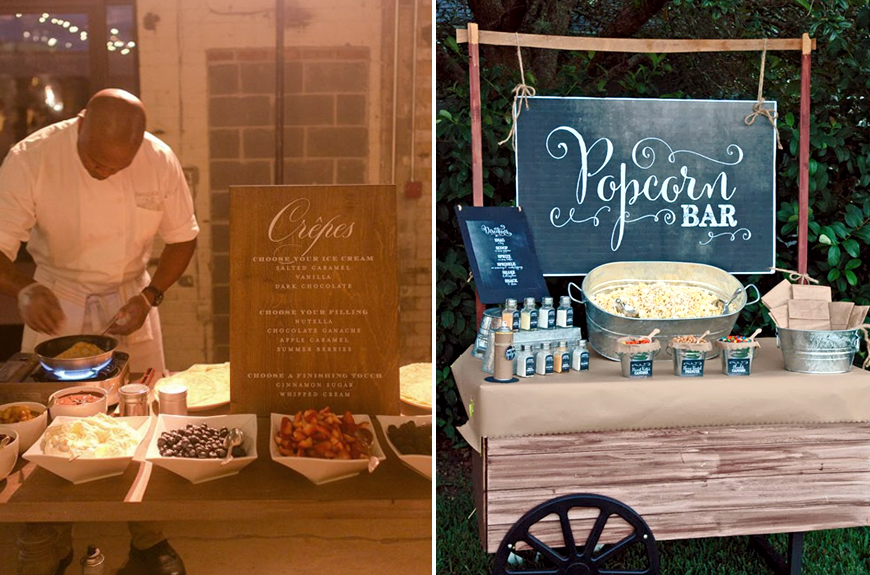 Exciting Evening Wedding Food Ideas - Crepes and Popcorn | CHWV