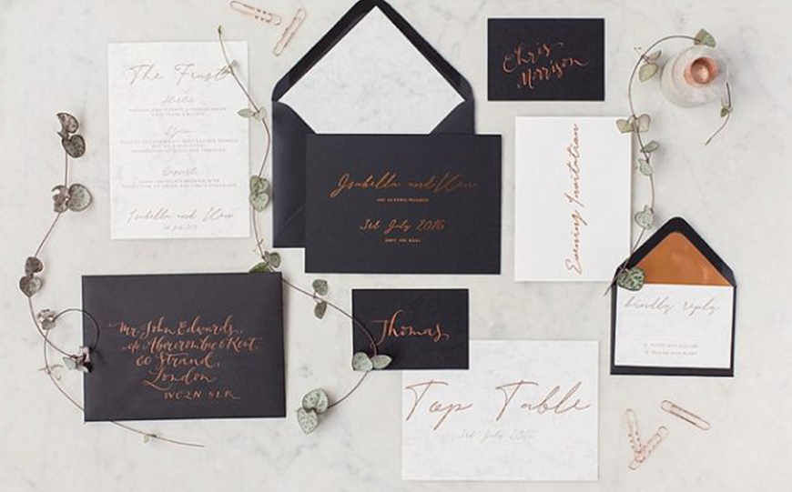 On-Trend Wedding Stationery For 2018 - Dark colours | CHWV