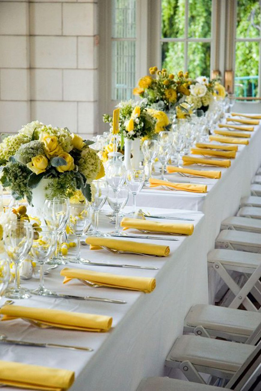 Wedding Ideas By Colour: Lemon Yellow Wedding Ideas - Table setting | CHWV