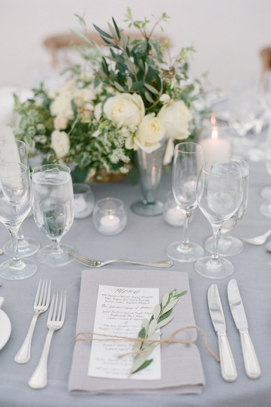 Wedding Ideas By Pantone Colour: Harbor Mist - Table linens | CHWV