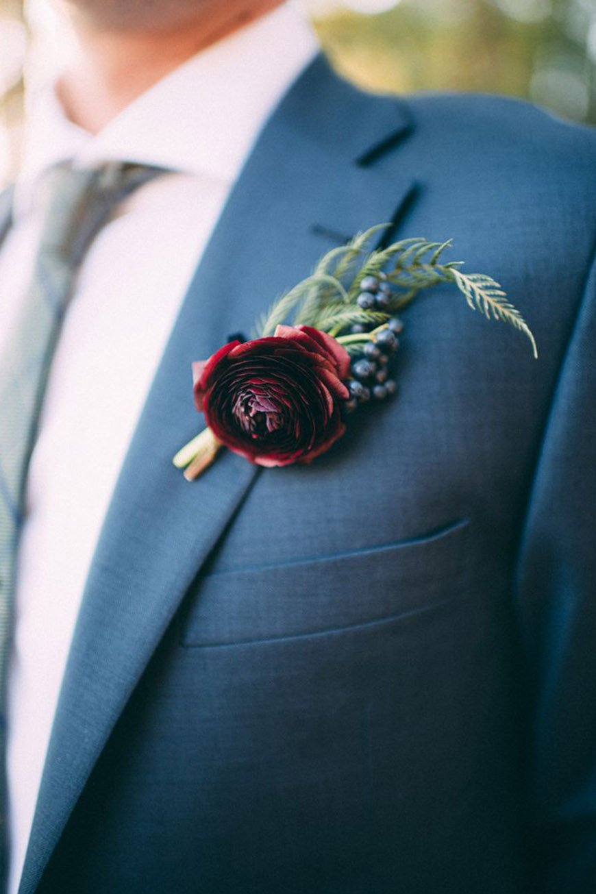 Wedding Ideas By Colour: Red Groom's Accessories - Buttonholes | CHWV
