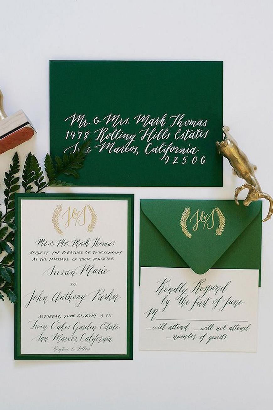 Wedding Ideas By Colour: Green Wedding Stationery - Deep and Dreamy   CHWV