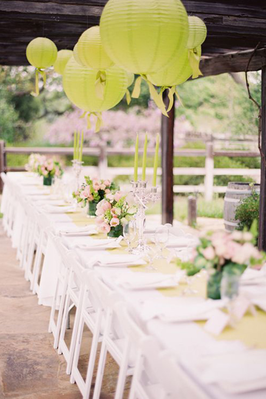 Wedding Ideas By Pantone Colour: Lime Punch - Lanterns | CHWV