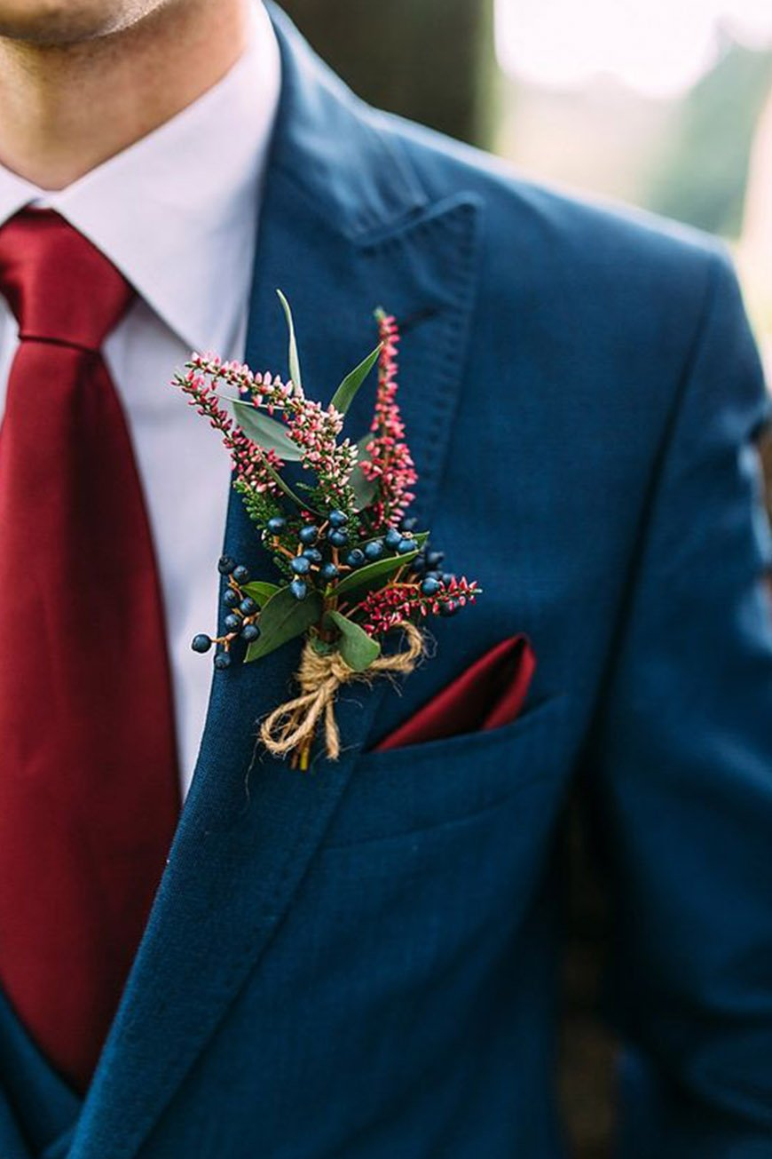 Wedding Ideas By Colour: Red Groom's Accessories - Buttonholes   CHWV