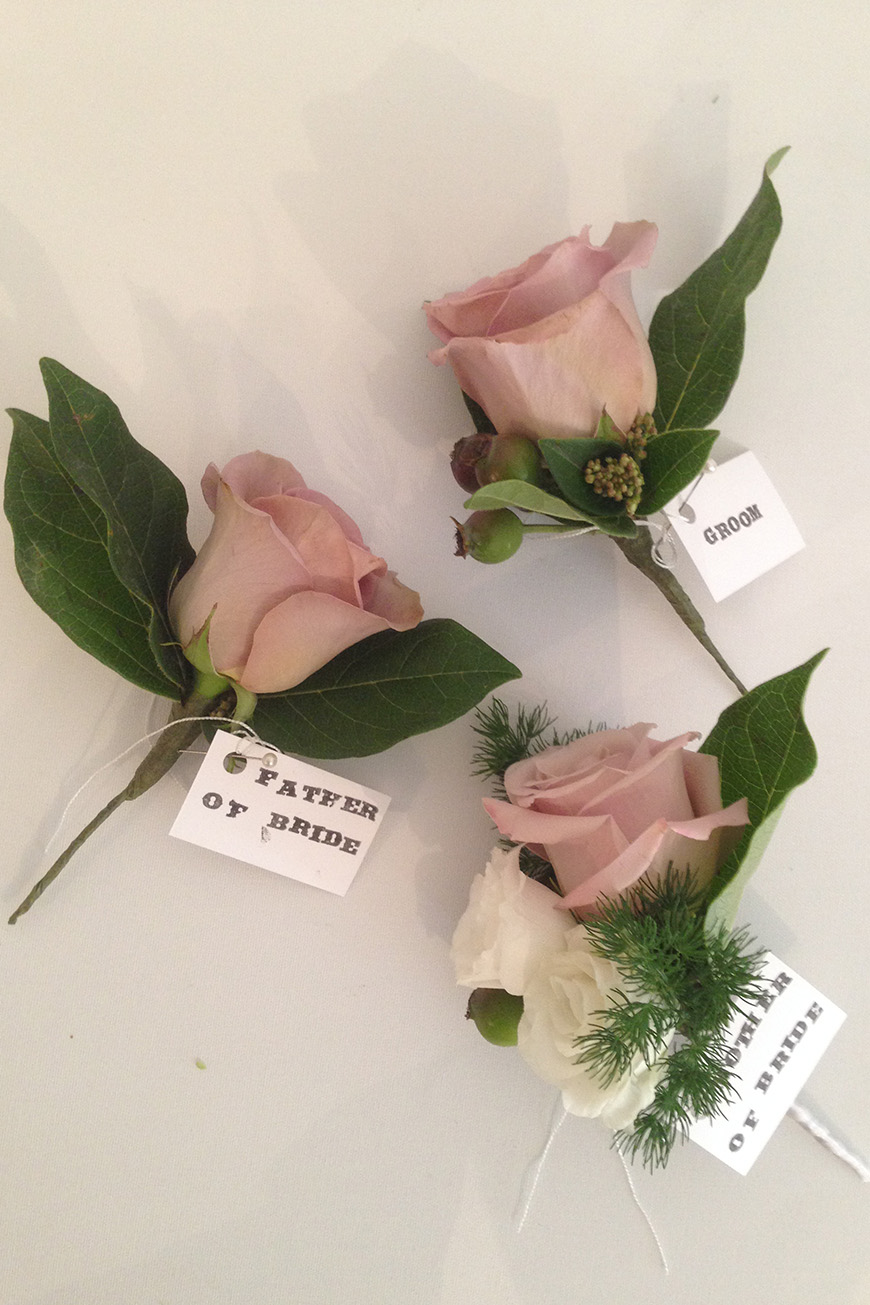 Wedding Ideas By Colour: Pink Groom's Accessories - Rose Buttonholes | CHWV