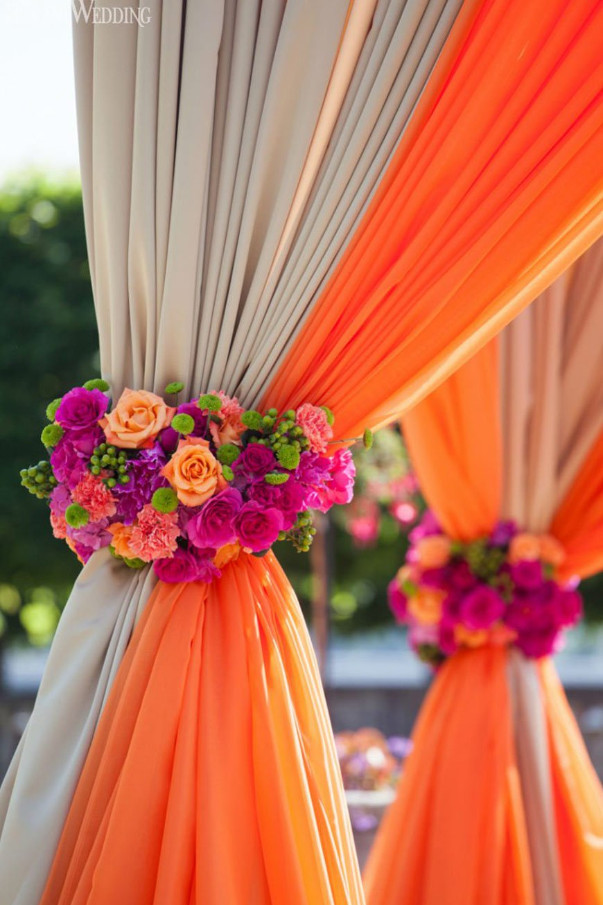 Wedding Ideas By Colour: Orange Wedding Decorations - Flower tie-backs | CHWV