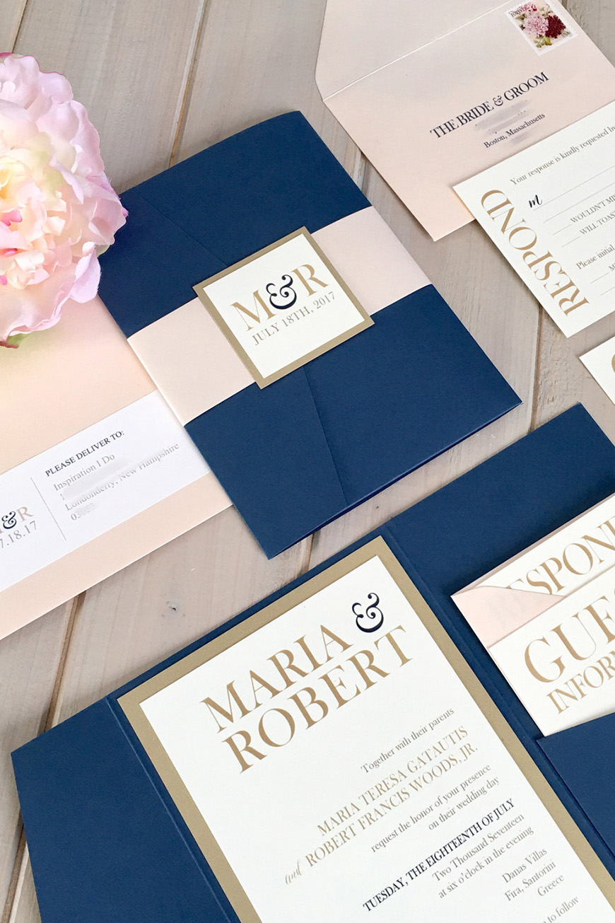 Wedding Ideas By Colour: Navy and Blush Wedding Theme - Spectacular stationery | CHWV