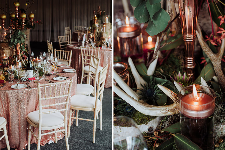 What To Look For In An Autumn Wedding Venue - Antlers brass candles | CHWV