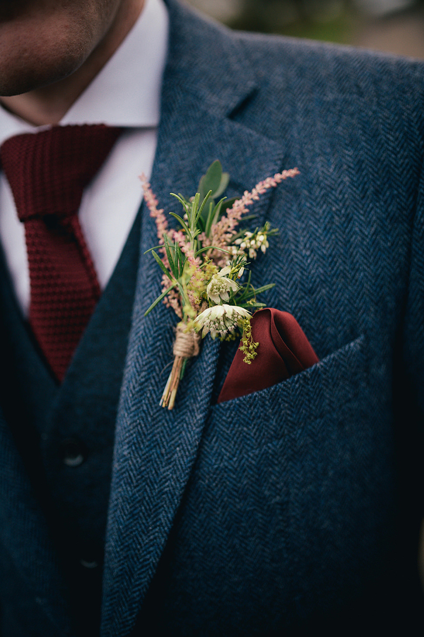Wedding Ideas By Colour: Pink Groom's Accessories - Wildflower Buttonhole | CHWV