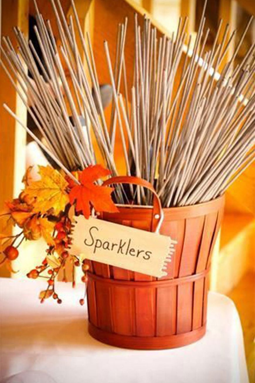 Wedding Ideas By Colour: Orange Wedding Decorations - Sparklers | CHWV