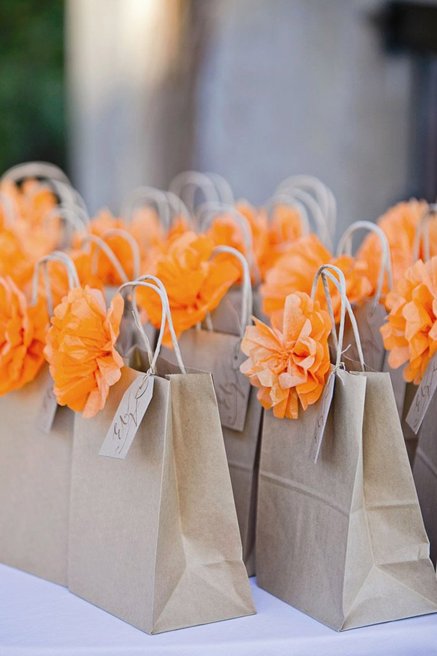 Wedding Ideas By Colour: Orange Wedding Decorations - Paper bag favours | CHWV