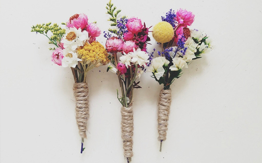 Wedding Ideas By Colour: Pink Groom's Accessories - Wildflower Buttonholes | CHWV