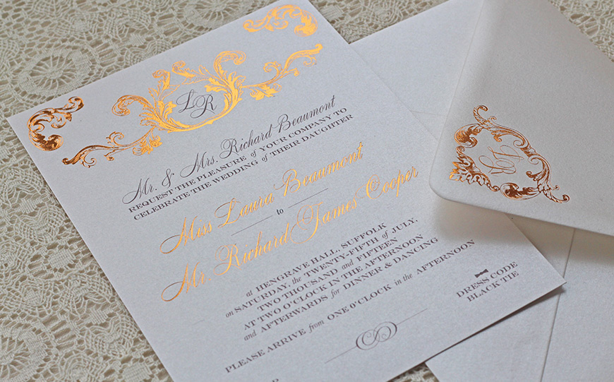 award winning wedding stationery with the foil invite