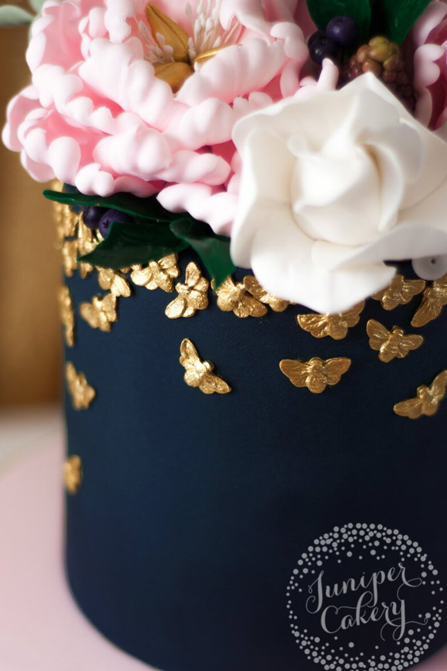 Wedding Ideas By Colour: Navy and Blush Wedding Theme - Colourful cakes | CHWV