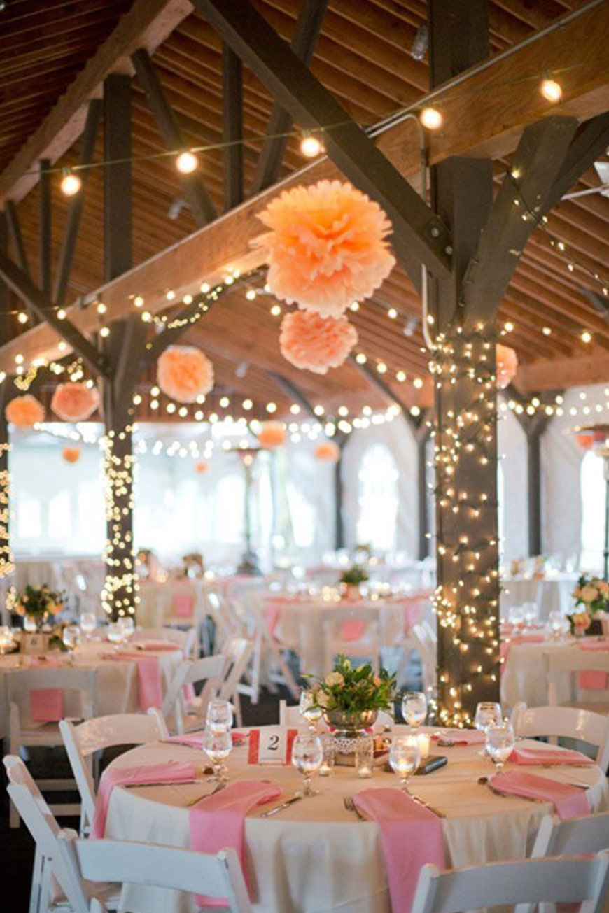 Wedding Ideas By Colour: Orange Wedding Decorations - Pom poms | CHWV