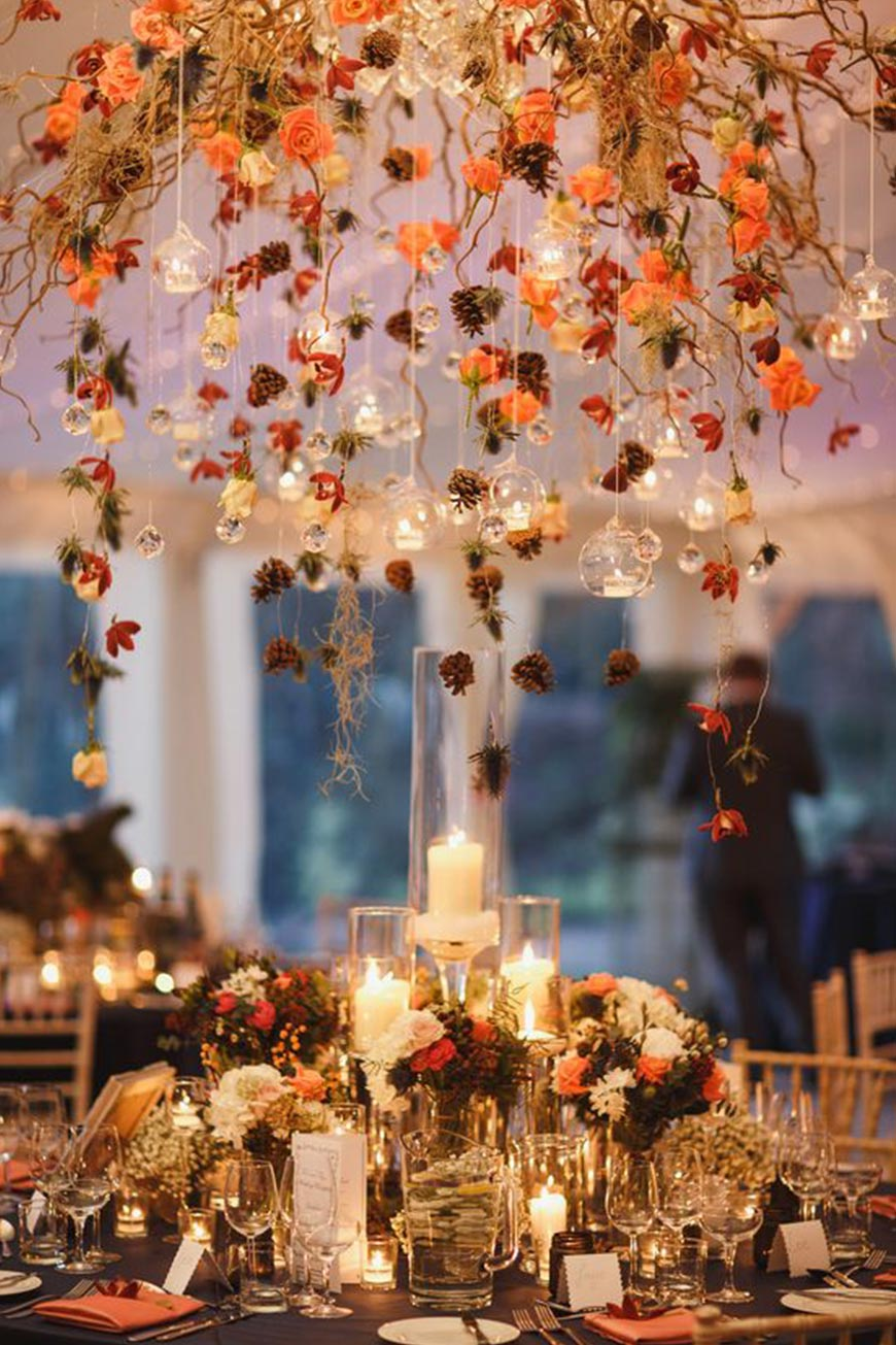 Wedding Ideas By Colour: Orange Wedding Decorations - Pine cones | CHWV