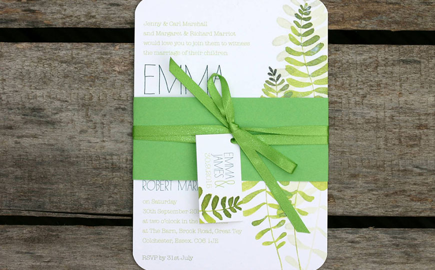 Wedding Ideas By Colour: Green Wedding Stationery - Naturals and Brights | CHWV