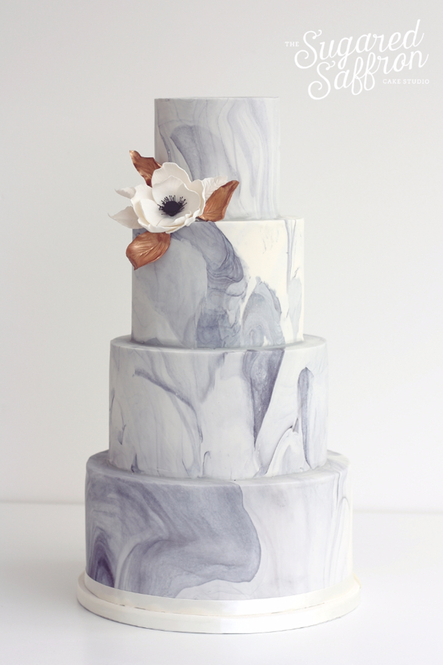 Wedding Ideas By Colour: Marble Wedding Cakes | CHWV