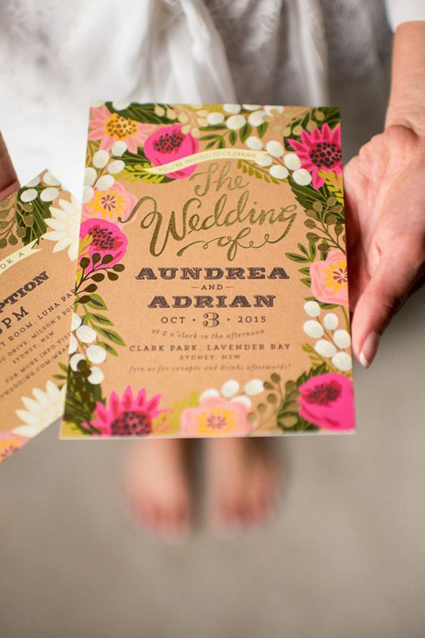 Wedding Ideas By Colour: Pink Wedding Invitations - Brilliant brights | CHWV