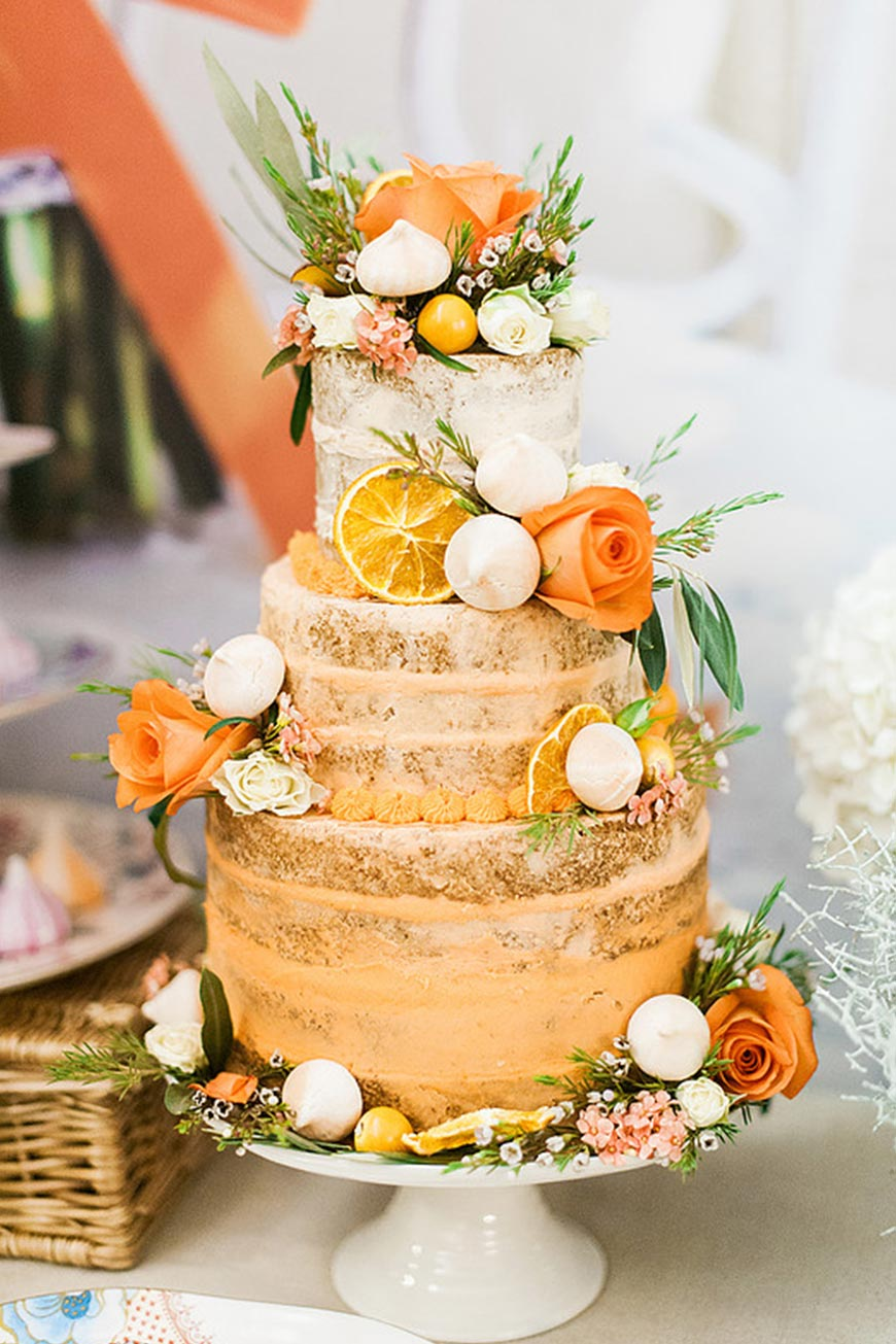 Wedding Ideas By Colour: Orange Wedding Decorations - Naked Cake | CHWV