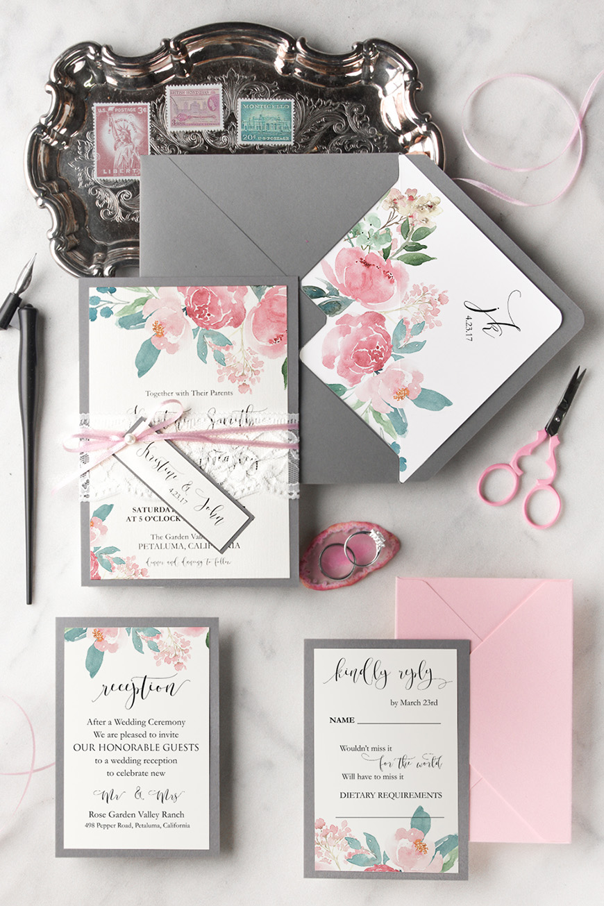Wedding Ideas By Colour: Grey Wedding Invitations - Perfect with pinks | CHWV
