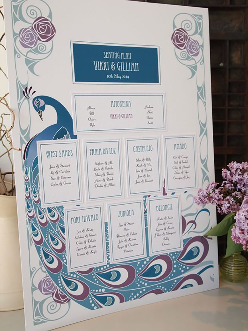 Amazing Art Deco Wedding Table Plans - A colourful choice | CHWV