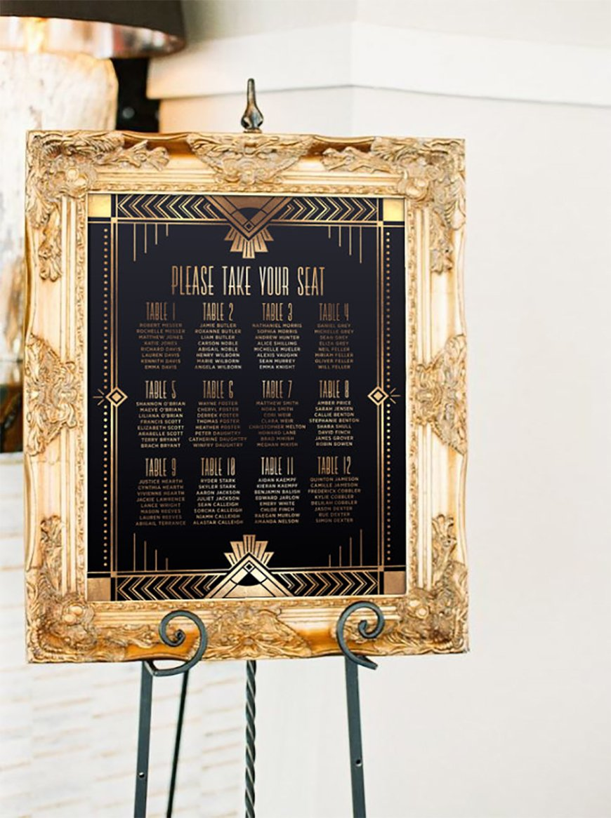 Amazing Art Deco Wedding Table Plans - In with the gold | CHWV