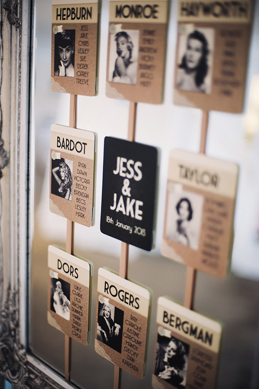 Amazing Art Deco Wedding Table Plans - Movie moments | CHWV
