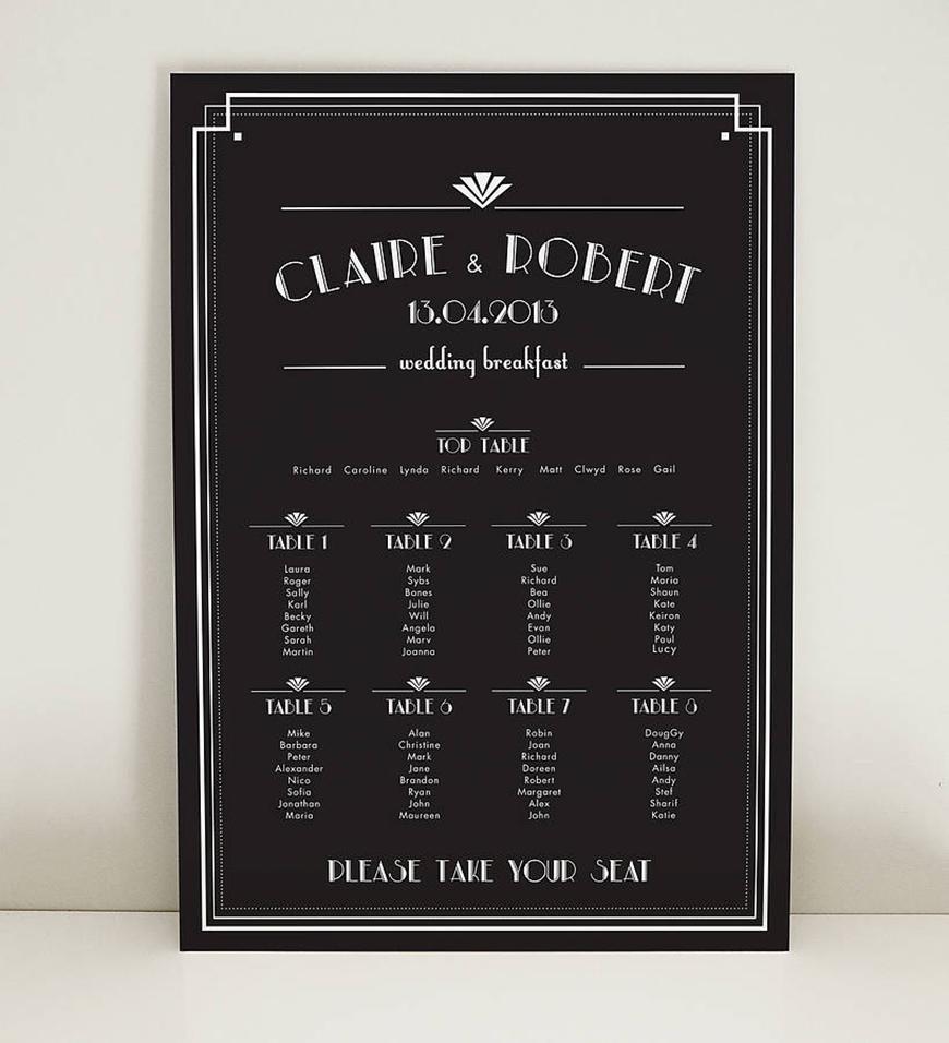 Amazing Art Deco Wedding Table Plans - Simply striking | CHWV