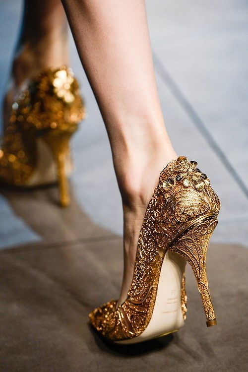 Beauty and the Beast themed wedding ideas - Gold Wedding Shoes