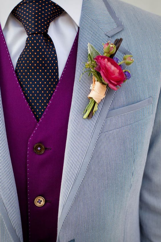 Wedding Ideas by Colour: Blue Wedding Suits - Different fabrics | CHWV