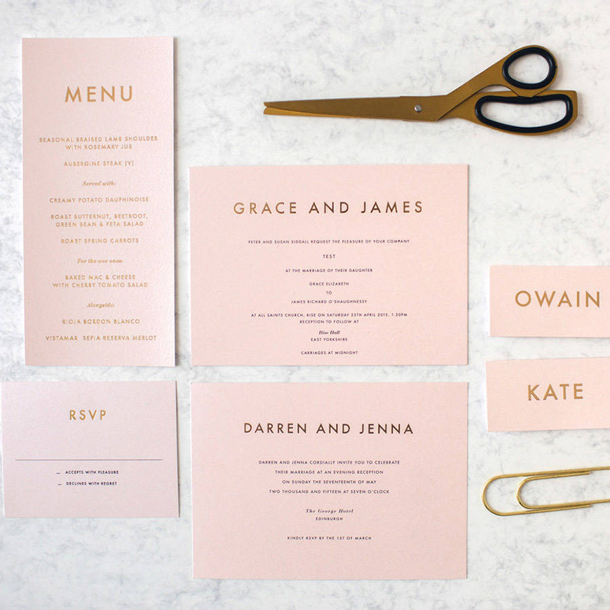 Wedding Ideas By Colour: Blush Wedding Theme - Stylish stationery | CHWV