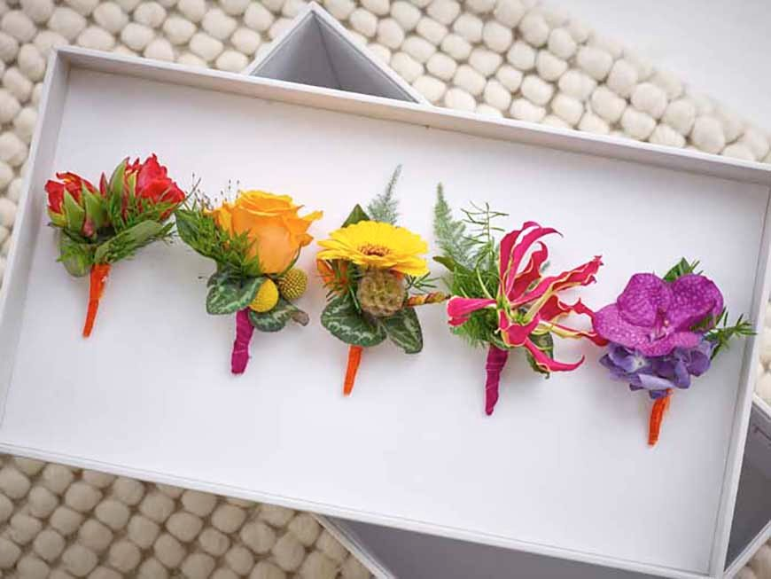Wedding Ideas By Colour: Bright Wedding Accessories - Buttonholes | CHWV