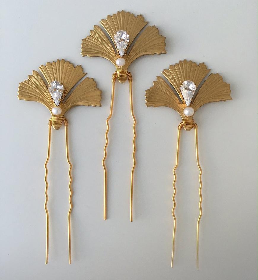 Wedding Ideas by Colour: Gold Hair Accessories - Dawn Pins   CHWV