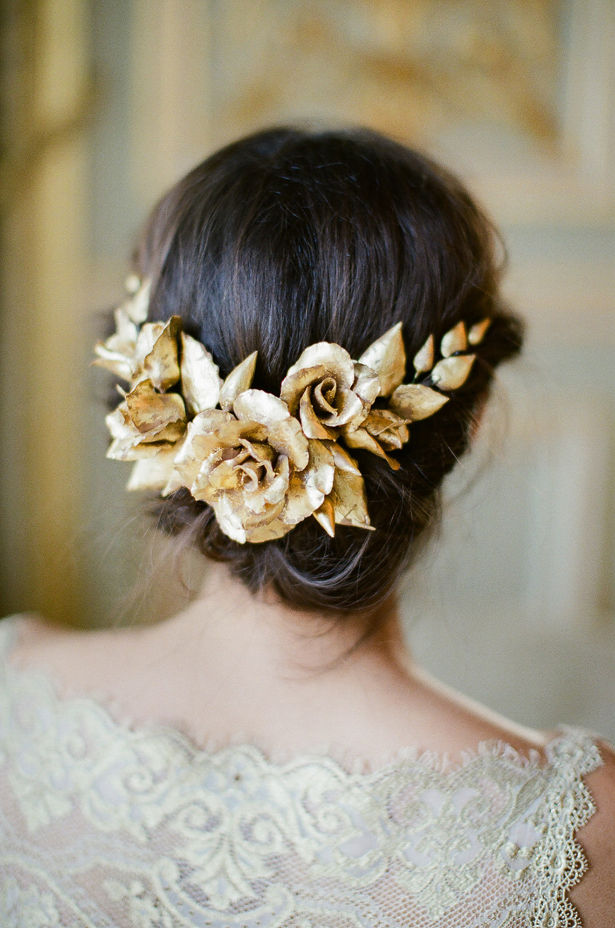 Wedding Ideas by Colour: Gold Hair Accessories - Floral leaves | CHWV