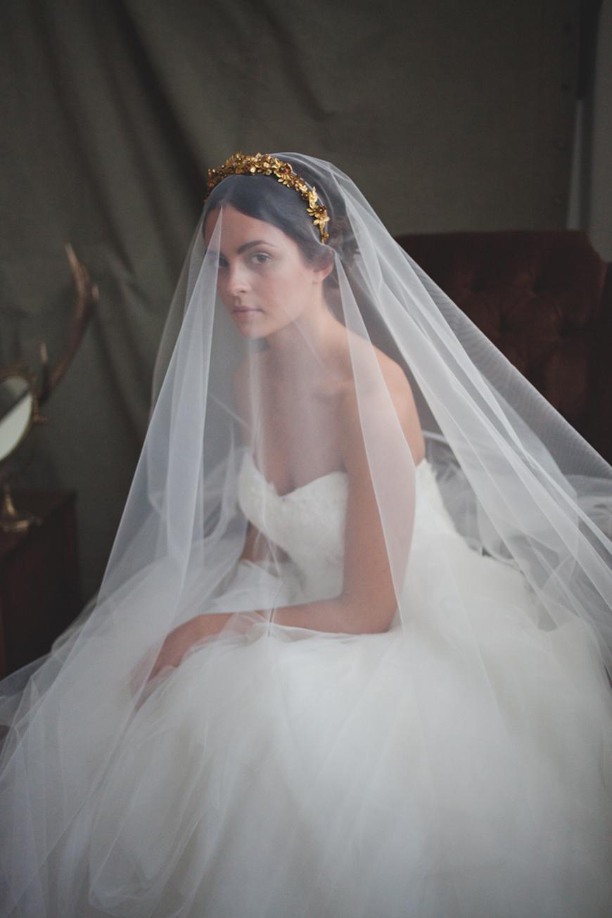 Wedding Ideas by Colour: Gold Hair Accessories - Veil   CHWV