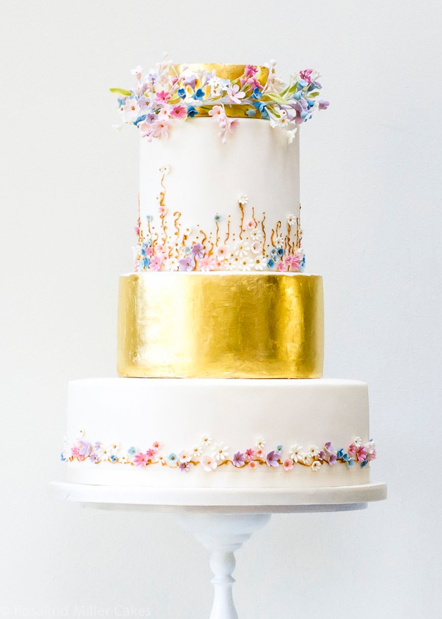 Wedding Ideas By Colour: Gold Wedding Cakes - Contemporary Chic | CHWV
