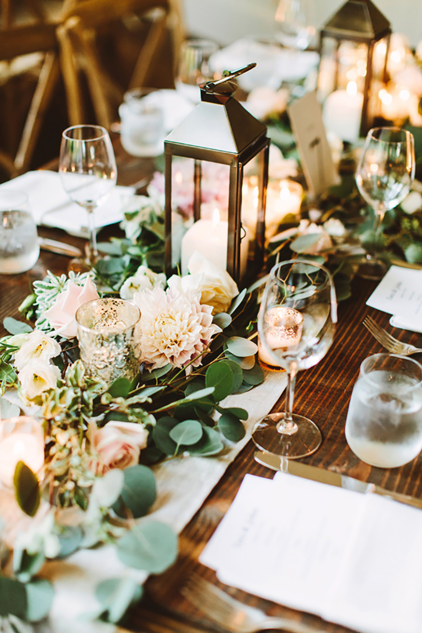 Wedding Ideas By Colour: Green Wedding Table Decorations - Flowers and foliage | CHWV