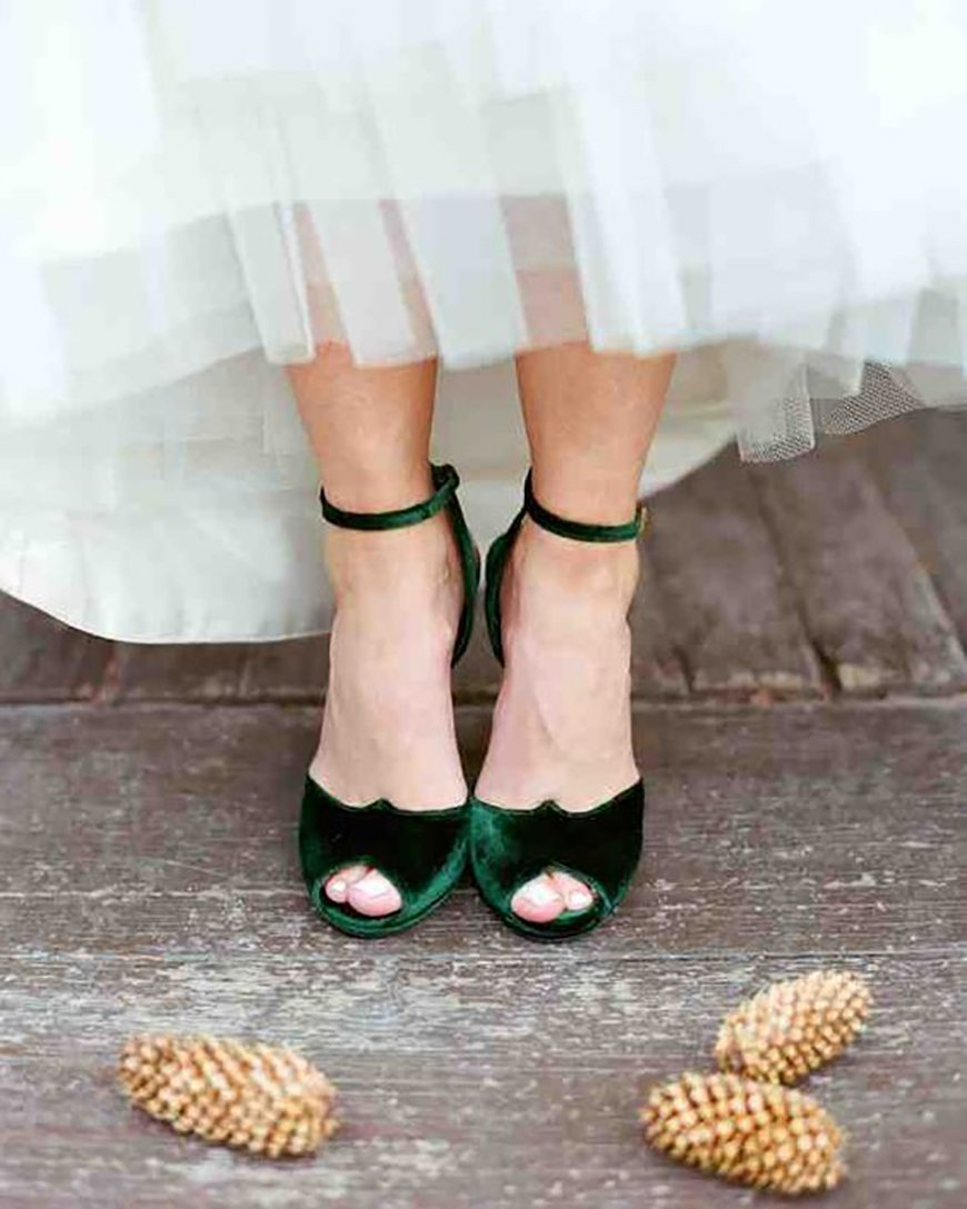 These green wedding shoes are a beautiful way to add a splash of colour to your special day.