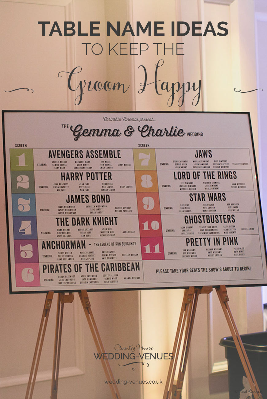 Wedding Table Name Ideas To Keep The Groom Happy