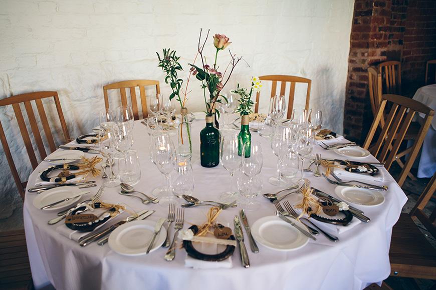 Pretty Pink and Purple Barn Wedding Ideas - Table settings   CHWV