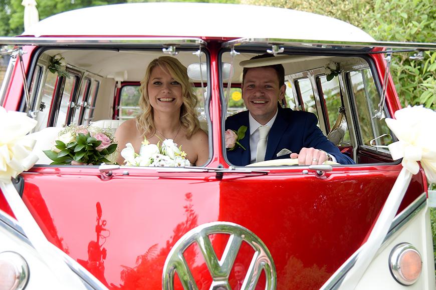Claudia and Mark's real life wedding at Bartholomew Barn - Camper van | CHWV