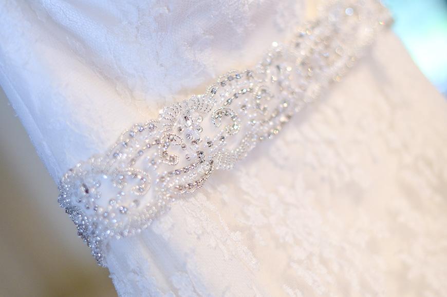 Claudia and Mark's real life wedding at Bartholomew Barn - Dress detail | CHWV