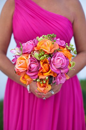 Orange wedding flowers wedding ideas by colour chwv for Pink and orange wedding dresses