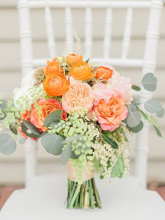 Orange wedding flowers ideas by colour chwv