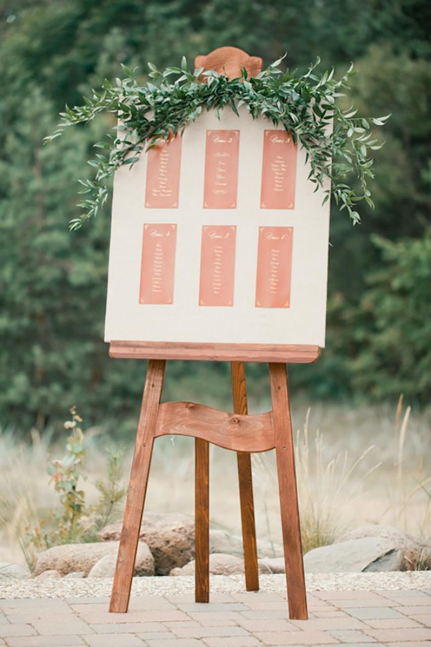 Wedding Ideas by Colour: Peach Wedding Table Plan Ideas - Boho | CHWV