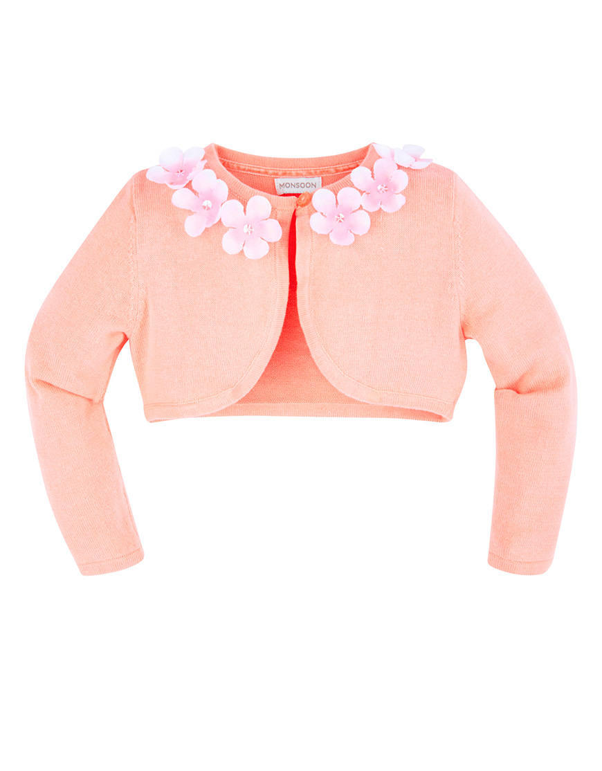 Wedding ideas by colour: 9 Perfect Peach Flower Girl Dresses - Flower cardigan   CHWV