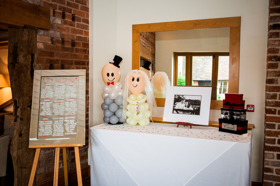 Quirky red wedding at Curradine Barns © Olivia Photography - Bride and Groom Balloon Decorations