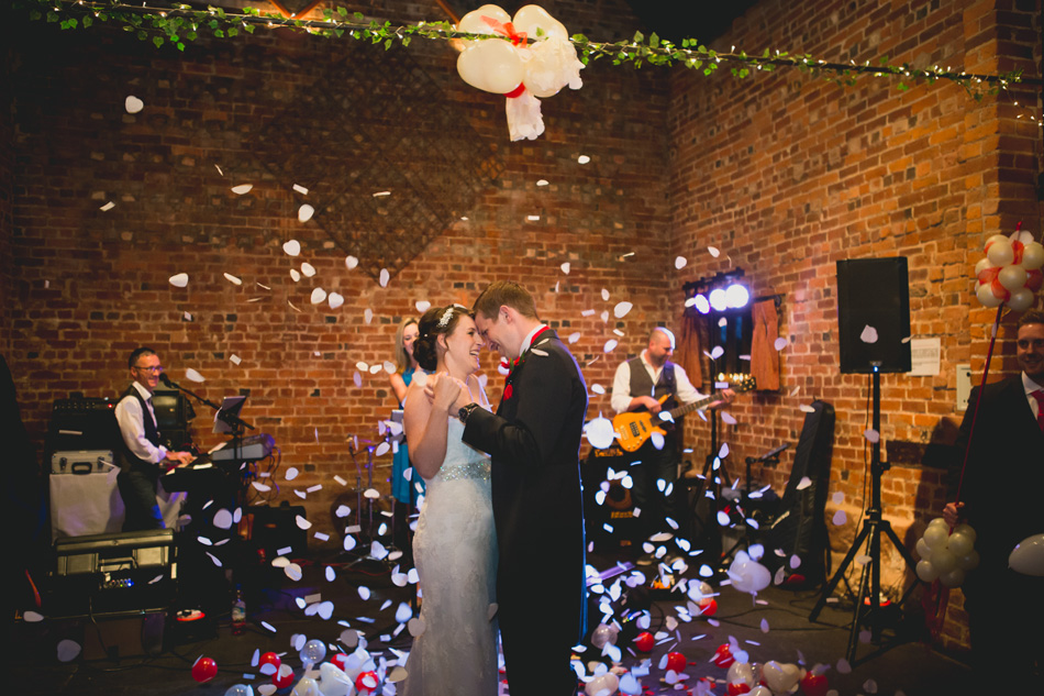 Quirky red wedding at Curradine Barns © Olivia Photography - The First Dance