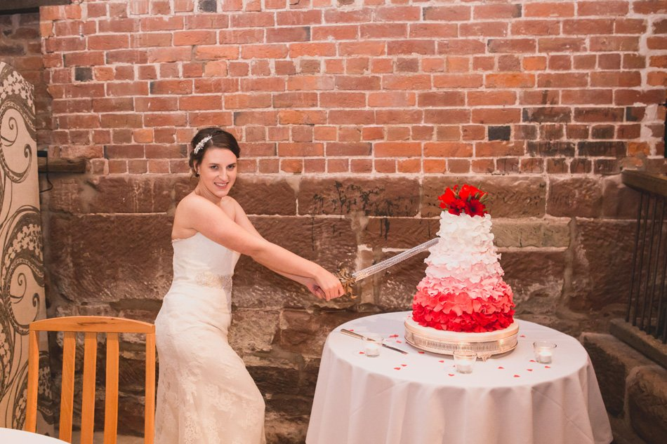 Quirky red wedding at Curradine Barns © Olivia Photography